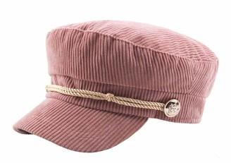 CHENNUO Women Military Hat Mariner Cap Barge Fiddler Cap Autumn Winter Corduroy Flat Cap (Pink)