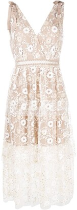Self-Portrait sequin-embellished A-line dress