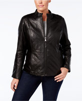 Jones New York Plus Size Quilted Leather Jacket