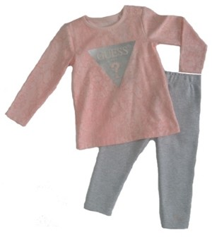 GUESS Girls Printed Long Sleeve Logo T-shirt and Lurex Legging Set
