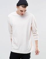 Asos Oversized Long Sleeve T-Shirt In Off White