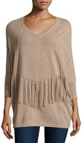 Neiman Marcus Cashmere Fringe-Detail Oversized Sweater, Tan
