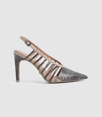 Reiss Daphne - Leather Slingback Heels in Truffle
