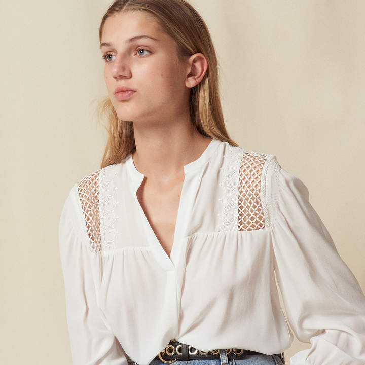 Sandro Silk top with lace insert