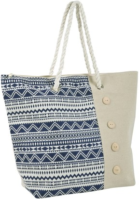 Lazy Beach Bag Ladies Beach Bag Blue Aztec Design Canvas Shoulder Tote Handbag Cotton Rich with Rope Handles Phone Pocket Top Zip - Ideal for Holidays Seaside Trips Relaxing Poolside Shopping Folds Flat 55cm