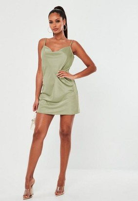 Missguided Khaki Satin Cowl Cami Slip Mini Dress