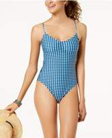 Hula Honey Juniors' Picnic Gingham Printed Lace-Up One-Piece Swimsuit, Created for Macy's