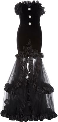Alessandra Rich Ruffled Embellished Tulle-Paneled Velvet Gown