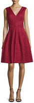 J. Mendel Sleeveless Lace Fit & Flare Dress, Red