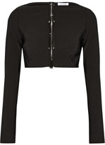 Thierry Mugler Cropped Embellished Cutout Stretch-cady Top - Black
