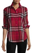 Burberry Long-Sleeve Cotton Check Shirt, Poppy Red