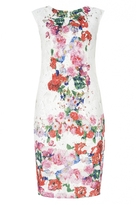 Quiz Cream Floral Print Scoop Back Midi Dress