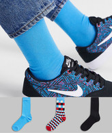 Asos Design DESIGN 3 pack ankle sock with check print save