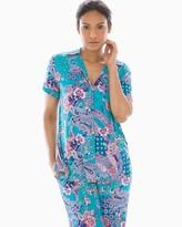Melange Home Cool Nights Short Sleeve Notch Collar Pajama Top Paisley