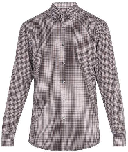 Ermenegildo Zegna Micro Gingham Cotton Shirt - Mens - Green Multi