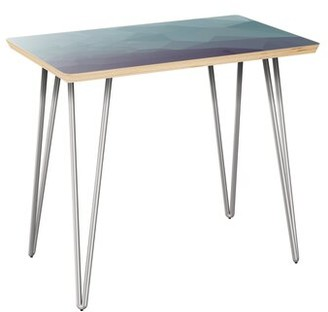 Brayden Studio Lake Butler End Table Table Top Boarder Color: Natural, Table Base Color: Chrome, Table Top Color: Blue