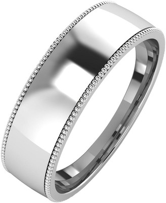 The Love Silver Collection Silver Mill Grain Edge 6 mm Court Wedding Band