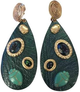 Gas Jeans Green Leather Earrings