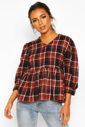boohoo Petite Volume Sleeve Check Smock Top