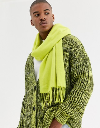 ASOS DESIGN scarf in neon yellow with tassels