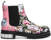 Alexander McQueen Embroidered Printed Leather Chelsea Boots - Pink