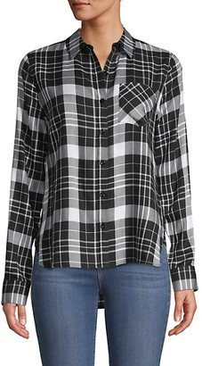 Pure Navy Plaid High-Low Shirt