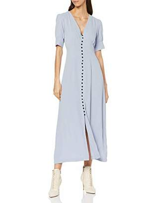 Lost Ink Women's Maxi Dress with Button Through Skirt, (Light Blue 0020), (Size:/M)