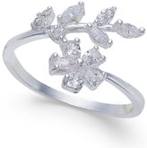 INC International Concepts Silver-Tone Crystal Flower & Leaf Ring, Only at Macy's