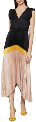 BCBGMAXAZRIA Satin Plisse Day Dress