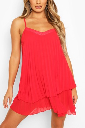 boohoo Strappy Double Layer Pleated Swing Dress