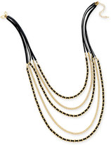 Thalia Sodi Gold-Tone Jet Faux-Leather Multi-Row Necklace, Only at Macy's
