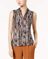 Nine West Printed V-Neck Shell