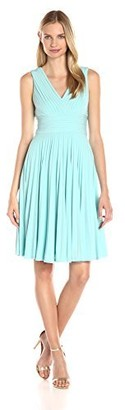 Adrianna Papell Women's Banded-Bodice Pleated Jersey Dress