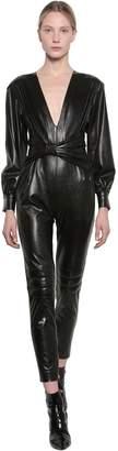 MSGM Faux Leather Jumpsuit W/bow