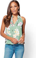 New York & Co. Bubble-Hem Halter Blouse - Floral