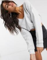 Bershka cropped sweat top with elasticated hem in gray