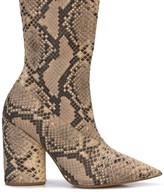 Yeezy snakeskin print mid-calf boots
