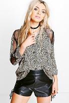 boohoo Boutique Eva Lace Insert Leopard Print Shirt multi