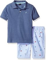 Nautica Toddler Boys' Polo Shirt with Plaid Flat Front Shorts Two Piece Set