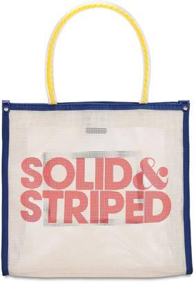 Solid & Striped Logo Printed Mesh Top Handle Bag