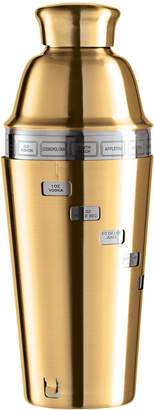 Oggi Gold-Tone Dial-A-Drink Stainless Steel Recipe Cocktail Shaker