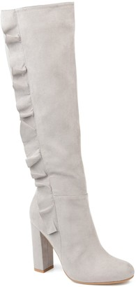 Journee Collection Women's Vivian Ruffled Knee-High Boots