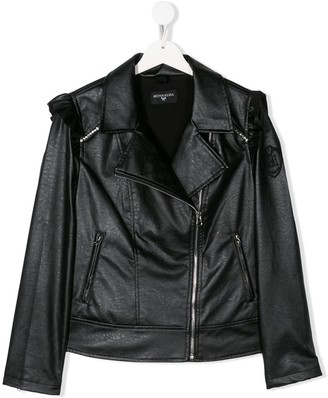 MonnaLisa TEEN crystal embellished biker jacket