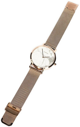 Mocha 38mm Marble Watch - White/Rose Gold Mesh Two