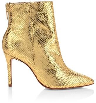 Schutz Michela Lizard-Embossed Metallic Leather Ankle Boots
