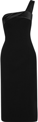 Victoria Beckham One-shoulder Satin-trimmed Crepe Midi Dress