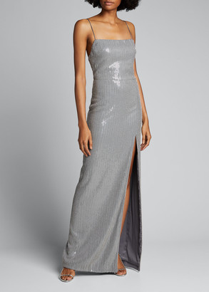Rasario Sequin Slip Gown with Front Slit
