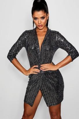 boohoo Metallic Blazer Mini Bodycon Dress