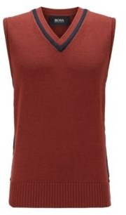 HUGO BOSS Sleeveless Sweater In Virgin Wool With V Neckline - Brown
