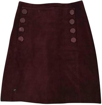 Sandro Burgundy Suede Skirt for Women
